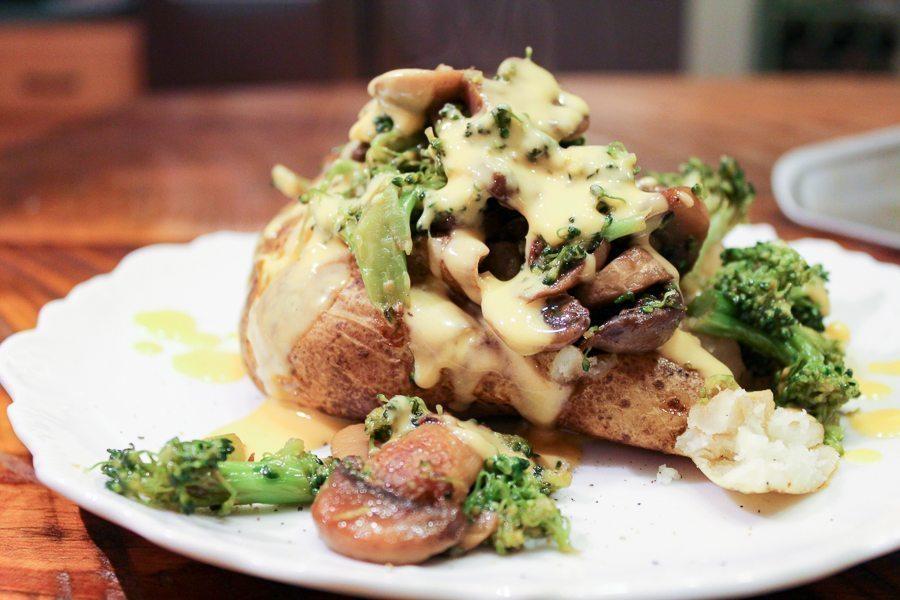 Broccoli Mushroom Loaded Baked Potatoes