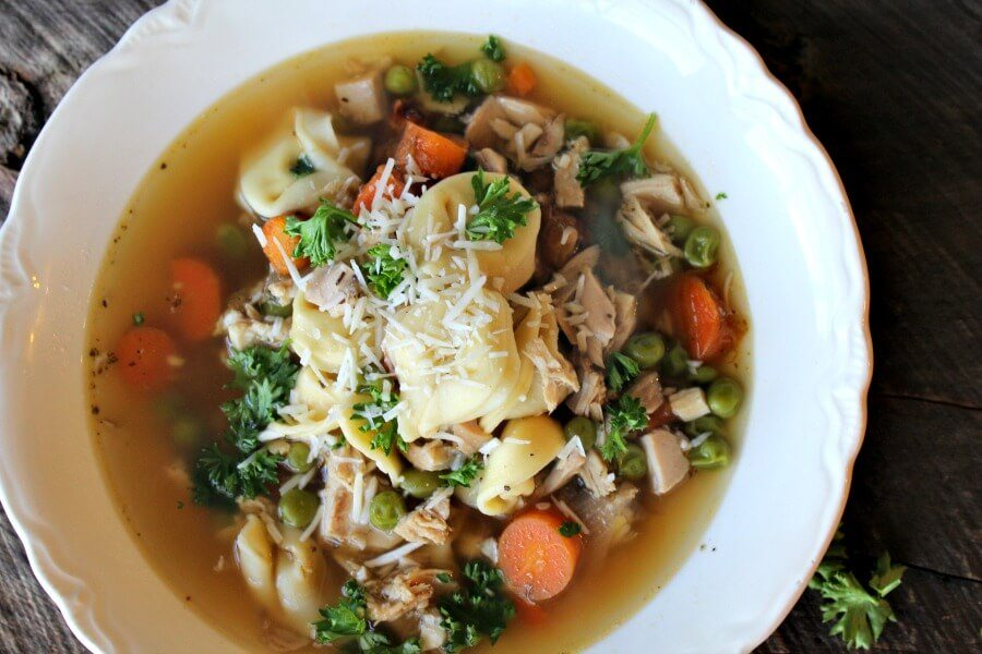 What is better than chicken noodle soup? Chicken & Cheese Tortellini Soup! Best chicken soup recipe using home made broth and cheese stuffed tortellini.