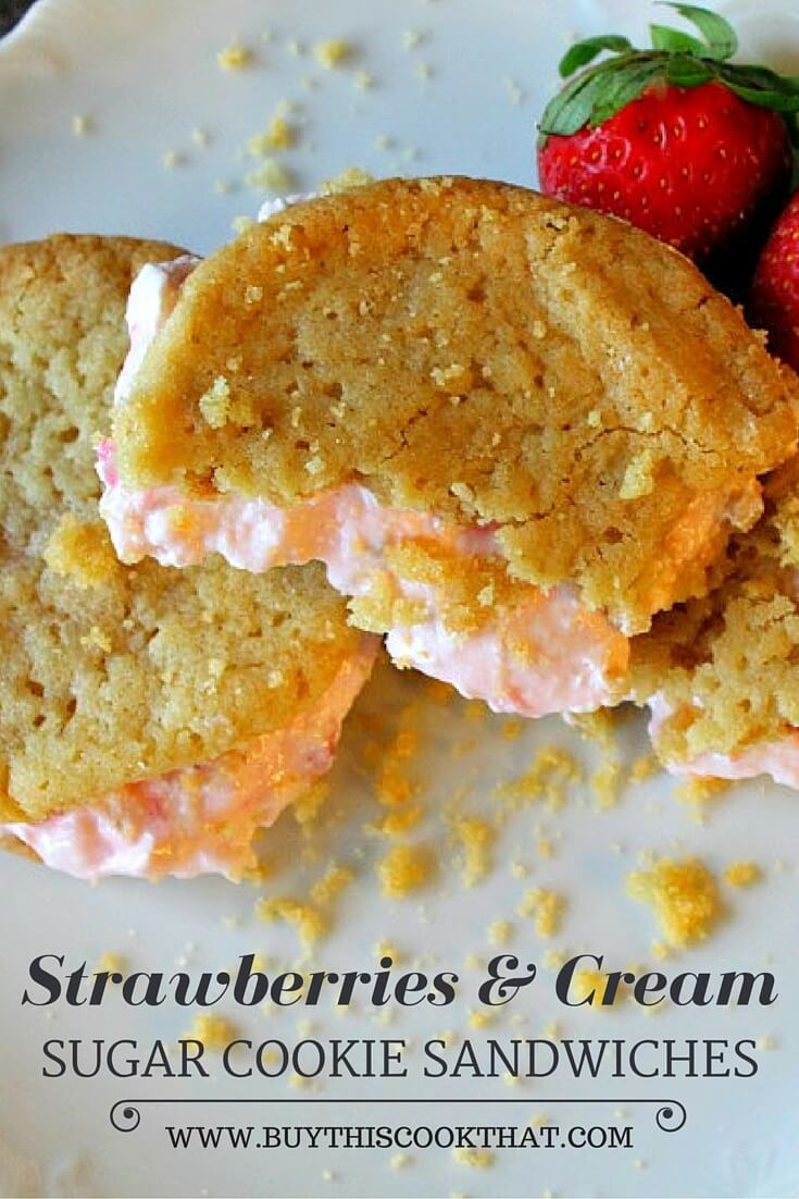 Classic sugar cookies with an over-the-the top strawberries & cream filling? Cookie sandwiches! This rich fresh strawberry treat will certainly satisfy.