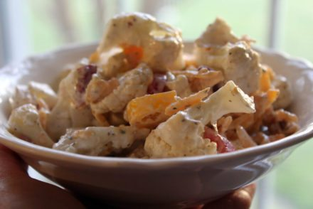 Fast and fresh Cauliflower Salad features fresh and crunchy veggies and an addictive ranch flavor. Oh...and cheese and bacon! Winner.