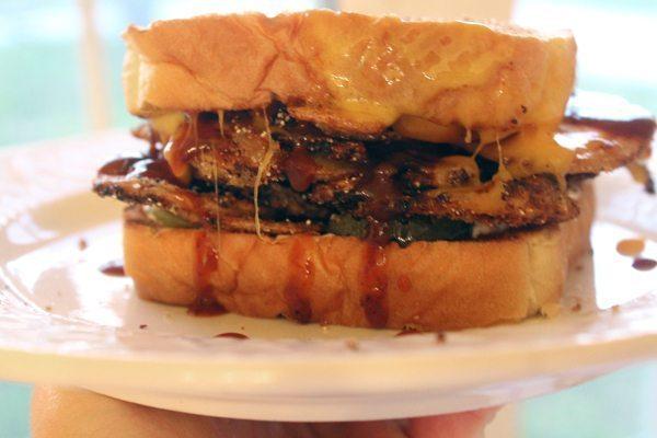 Fried Potatoes on a Sandwich