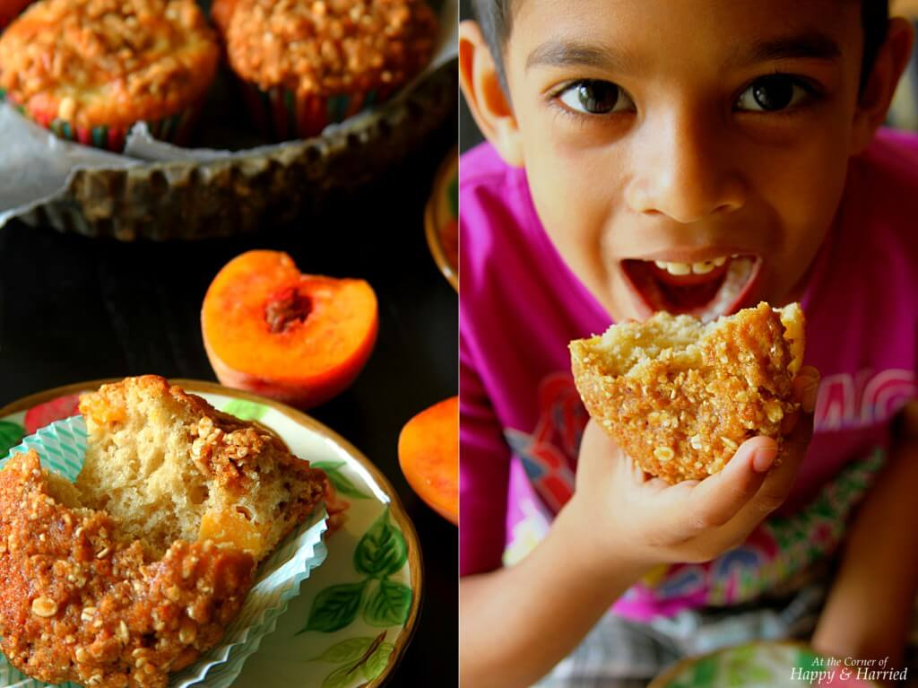 Fresh Peach Muffins by Happy and Harried