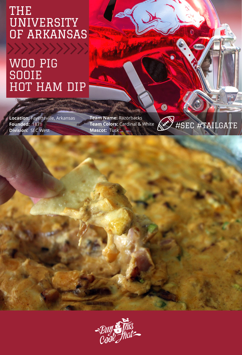"Call the hogs, people! Football time in Arkansas is here, and so is this awesome recipe for Hot Ham Dip. Or as we like to call it ""Woo Pig Sooie!"" Dip. Full of browned ham, caramelized onions, and cheese, this Arkansas Tailgate recipe is like crack in a skillet."
