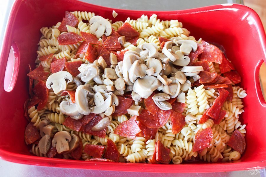 Pepperoni Pizza Pasta Bake Casserole Saucy Cheesy And Easy