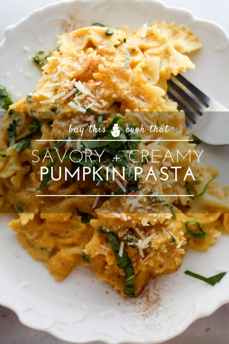 You will LOVE Pumpkin Pasta. Creamy and buttery pumpkin sauce featuring Parmesan, fresh spinach and nutmeg. This is a savory pumpkin recipe you will keep!