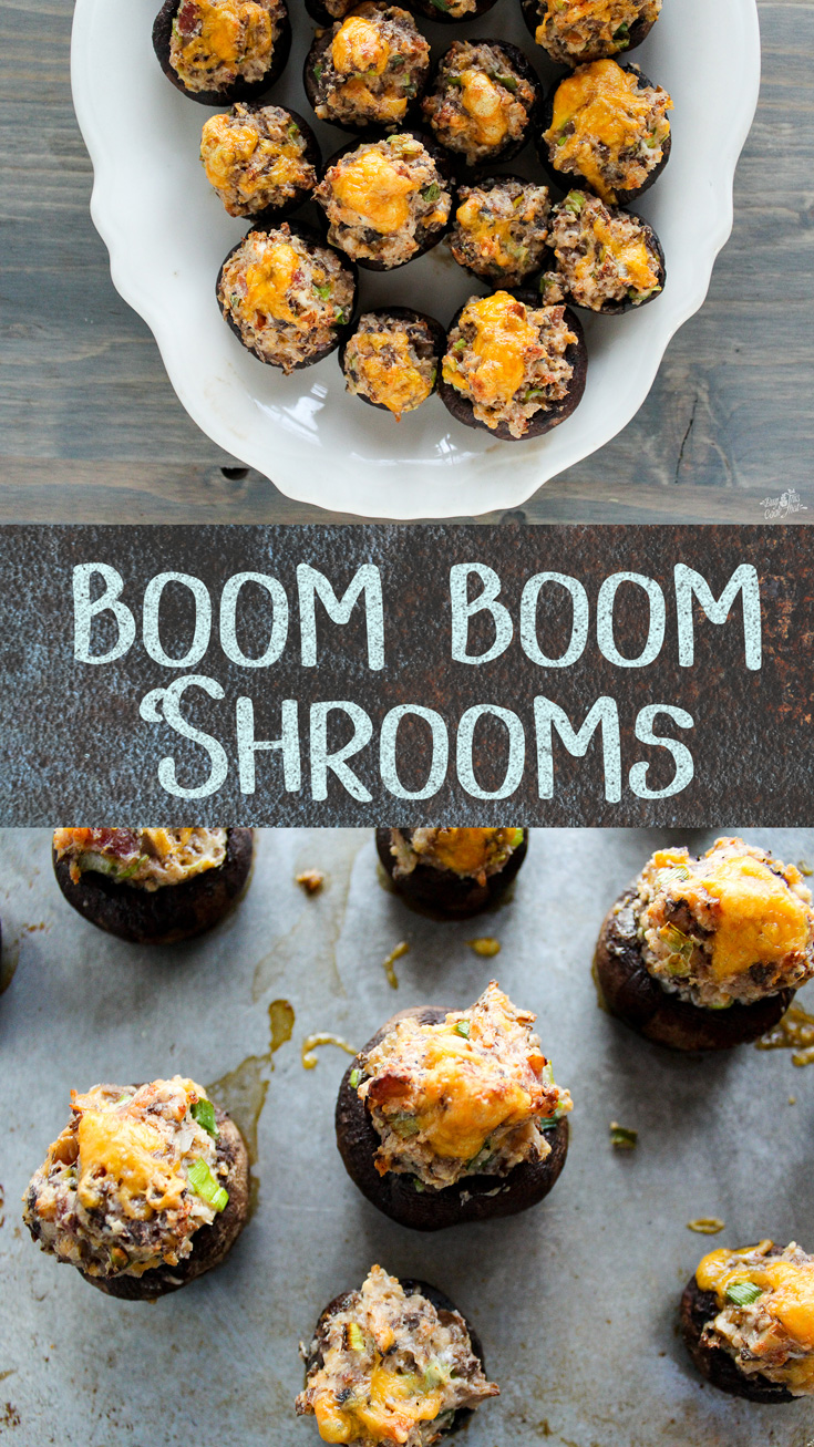 Our Stuffed Mushrooms appetizer recipe will make you a Kitchen Rock Star. Cream cheese, cheddar, bacon and pecans make this THE recipe of the holiday season. #stuffed #mushrooms #boom #boom #appetizer #recipe