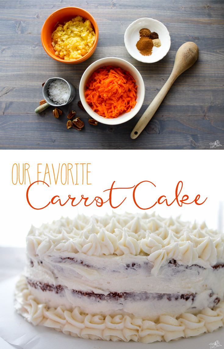 This layered Carrot Cake recipe is loaded with carrots, pineapple, coconut and pecans. Moist and indulgent, and topped with our Best Cream Cheese Frosting. #cake #carrotcake #dessert #recipe