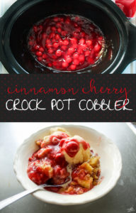 You are going to love this warm + sweet crockpot cobbler with cinnamon + cherries.