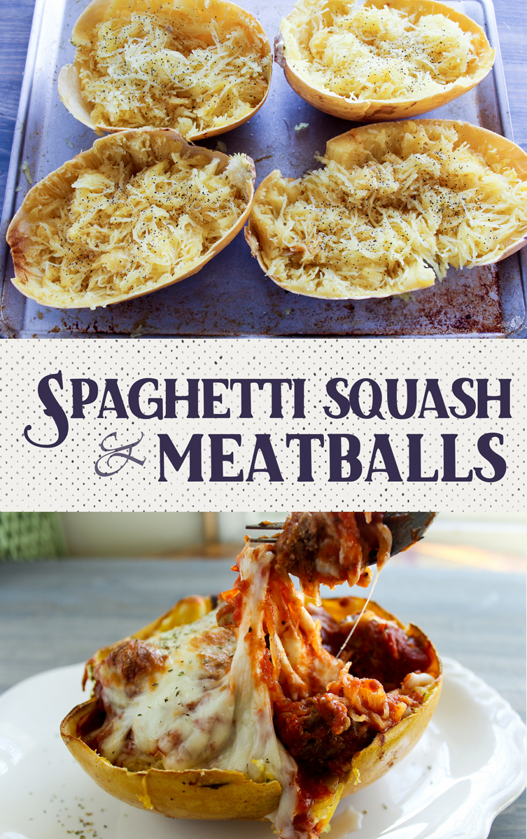Spaghetti Squash and Meatballs is one of my favorite healthy twists on a classic dinner. Delicious and fun to eat.
