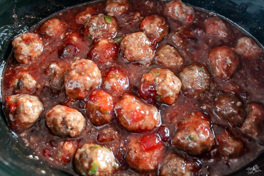 Cranberry sauce and two types of chili sauce. Chili Cranberry Meatballs are a party classic with new life! Love me some easy.
