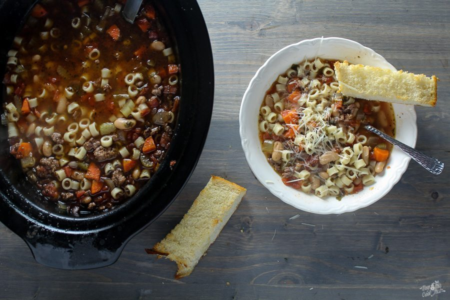My new fave soup is Crockpot Pasta Fagioli! With ditalini pasta and cannellini beans, this set it & forget it soup recipe is filling & delicious.