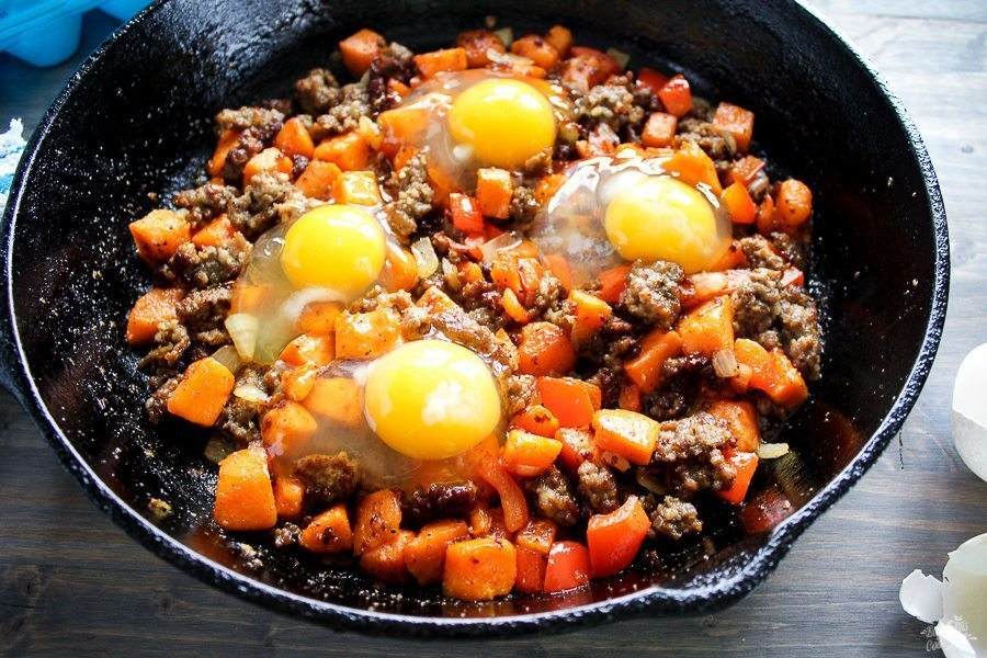 Sweet Potato + Sausage Breakfast Skillet