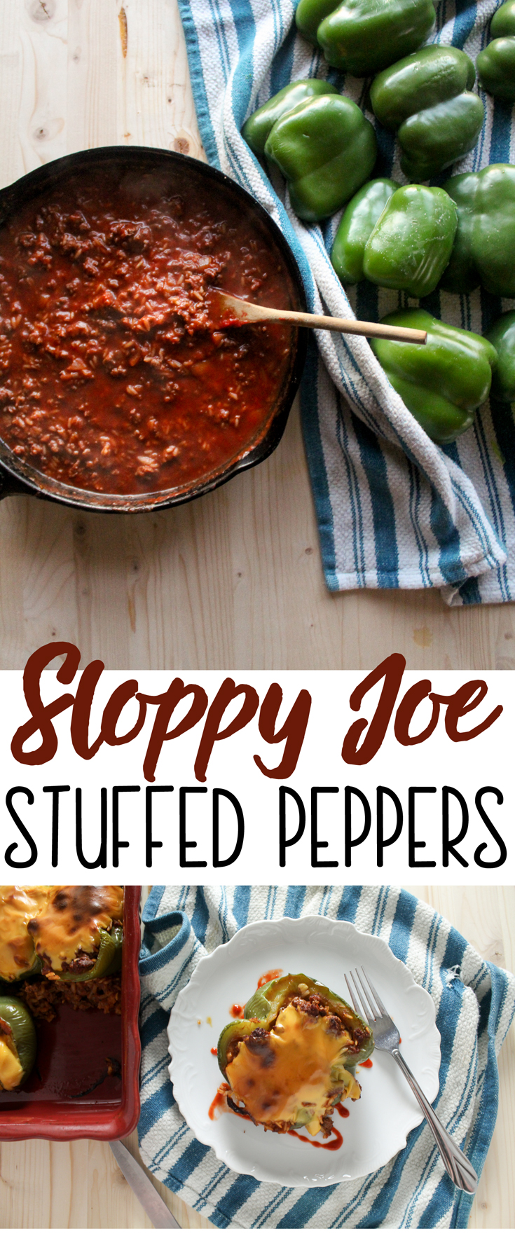 Sweet and tangy sloppy joes stuffed in sweet bell peppers and topped with cheese. This easy stuffed peppers recipe will be a family hit!  Easy weeknight meal