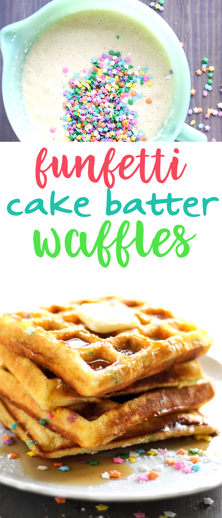 Golden and buttery cake waffles filled with funfetti sprinkles. Perfect for an indulgent breakfast or fun dessert idea. #cakewaffles