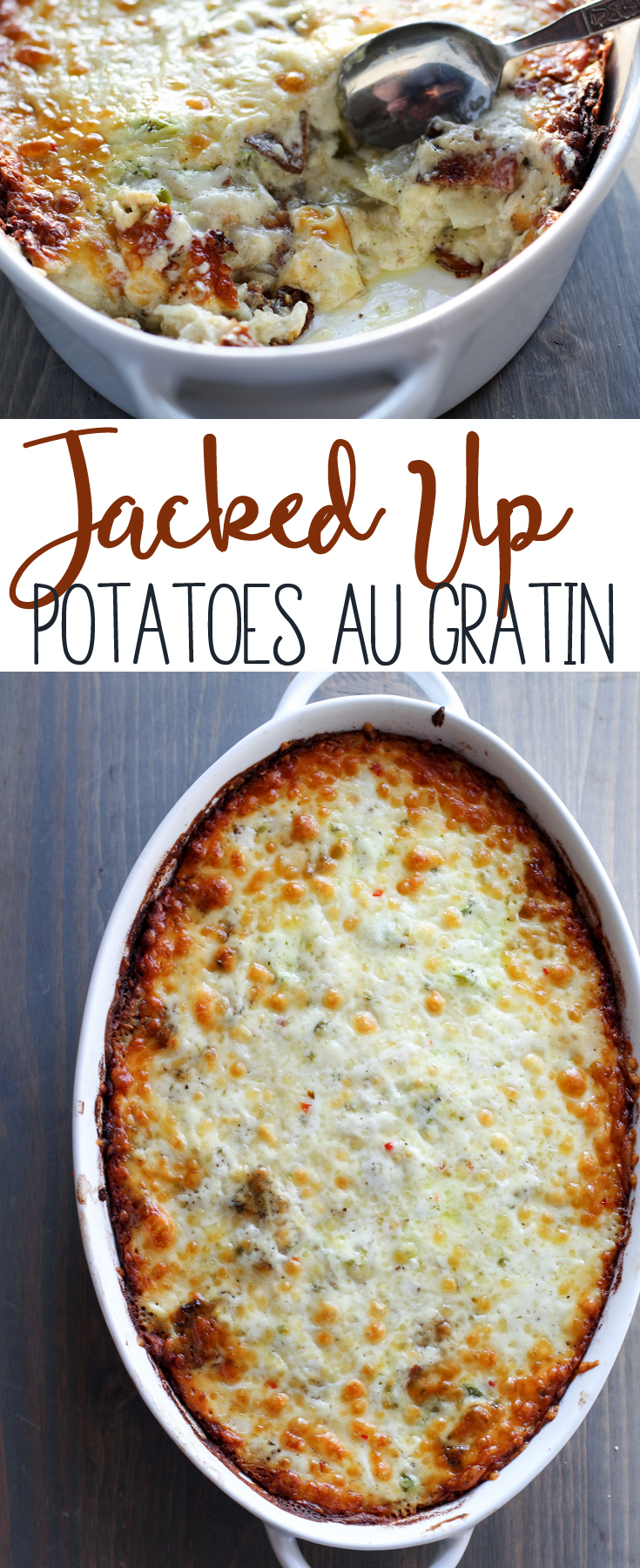 This Jacked Up Potatoes Au Gratin recipe might be the the best thing since...potatoes au gratin. Jack cheese, bacon, and peppers make this crave-worthy.