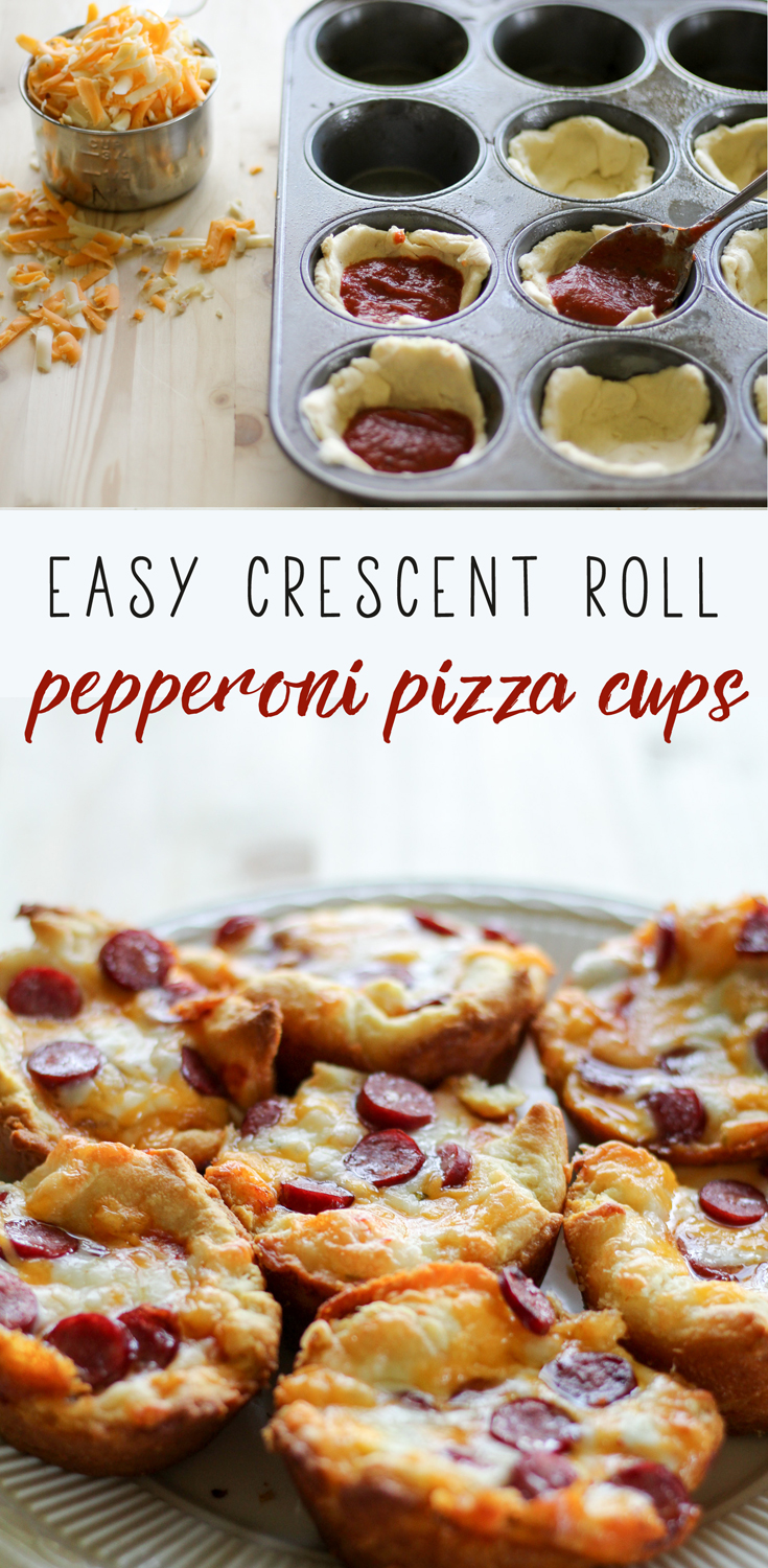 These easy crescent roll Pepperoni Pizza Cups are a great snack recipe that you can make in less than 30 minutes with just 4 ingredients. #pizzasnacks