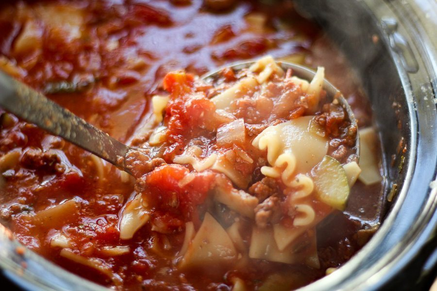 Crockpot Lasagna Soup is hearty and flavorful with all of the delicious flavors of your favorite lasagna. This is one of the very best crockpot creations we have made.
