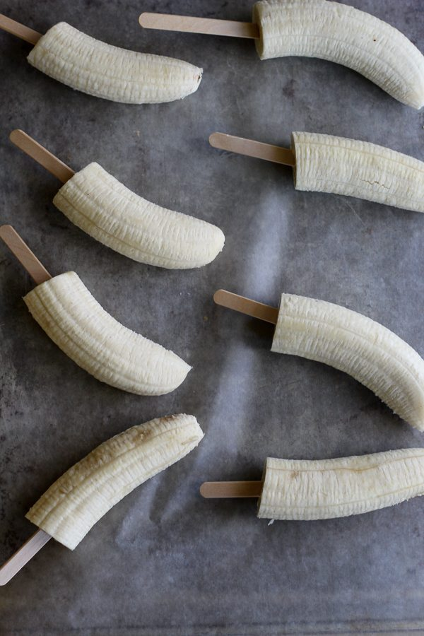 Bananas on popsicle sticks