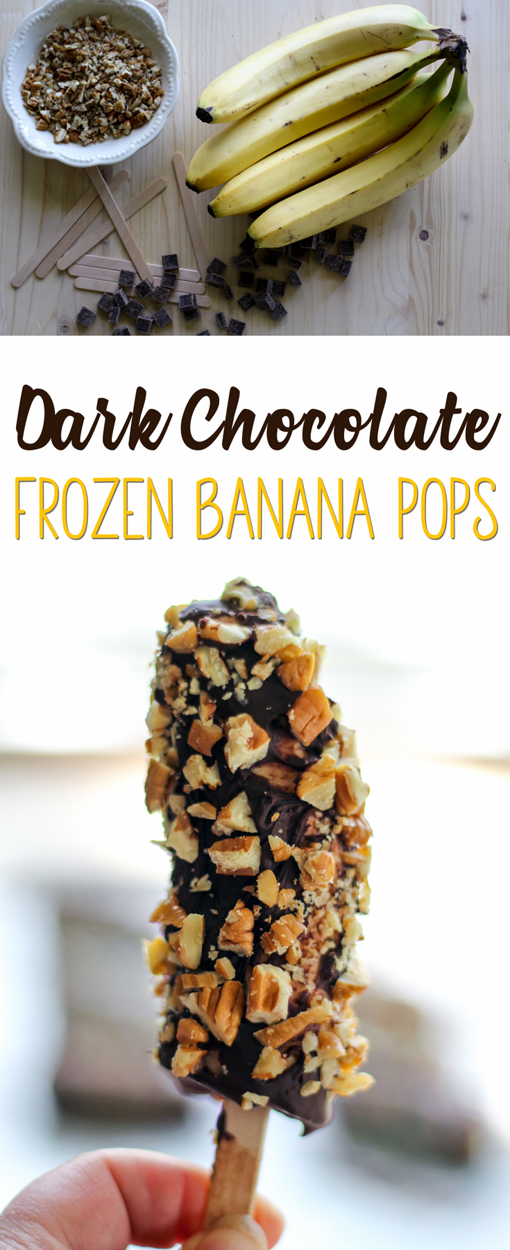 Healthy dessert alert: Ever had a frozen banana? They are creamy, sweet, and so much healthier than a normal ice cream bar. We dipped ours in dark chocolate and chopped pecans.  #frozenbananapops