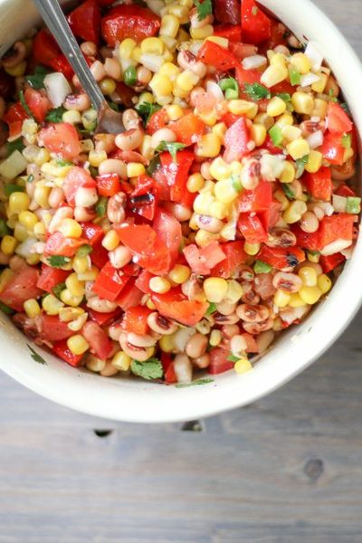 Grilled Red Pepper Black Eyed Pea Salad