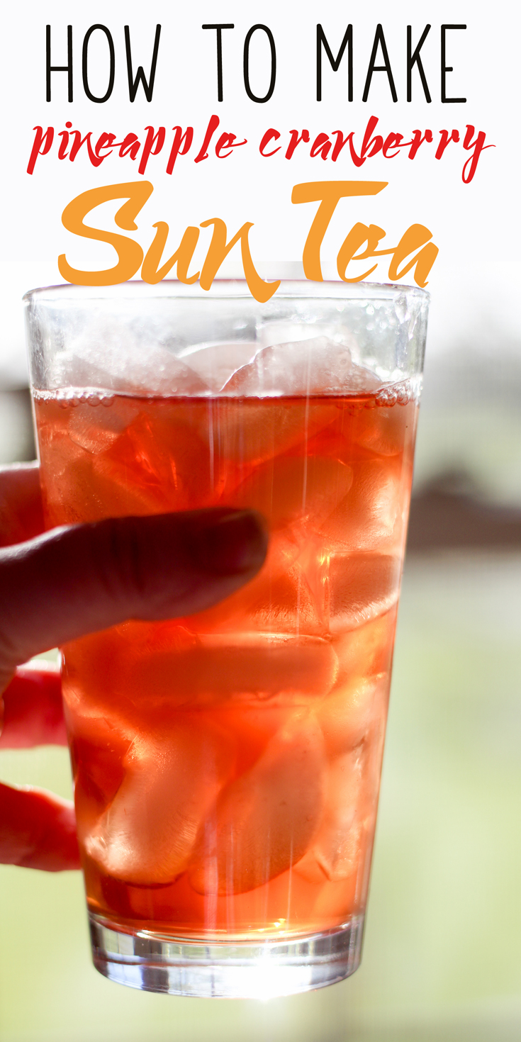 Do you remember how to make sun tea? But this isn't a recipe for plain ole' tea. We are making Pineapple Cranberry Sun Tea.