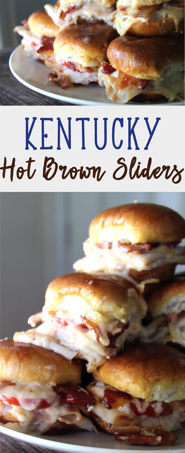 These Kentucky Hot Brown Sliders are so good. Yummy turkey, buttered buns, fresh ripe tomato, cheese gravy (yes, I said CHEESE GRAVY), and bacon. #kentuckyhotbrown