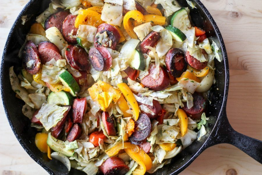 Veggie Sausage Skillet - Cast Iron Skillet Recipes