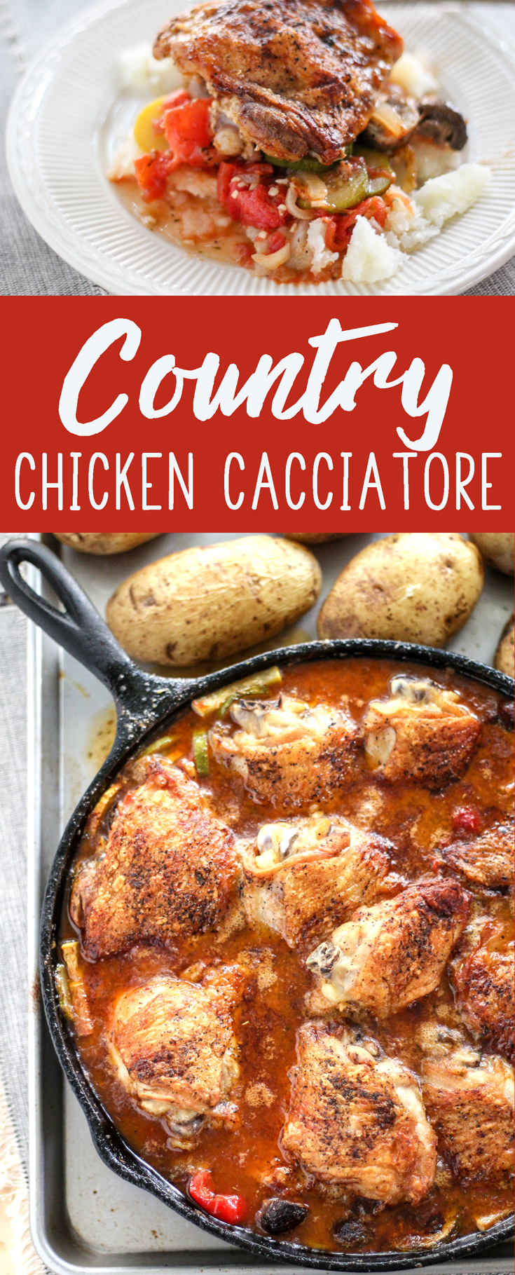 Golden brown chicken thighs are cooked until the skin is crispy, but tender and moist on the inside. Country garden vegetables like fresh zucchini and summer squash, tomatoes, and white wine create a flavorful stew that is amazing.  #chickencacciatorerecipe