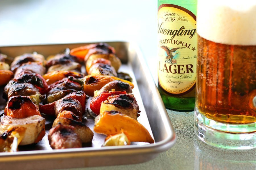 Bold Beer Bratwurst Skewers on the Grill
