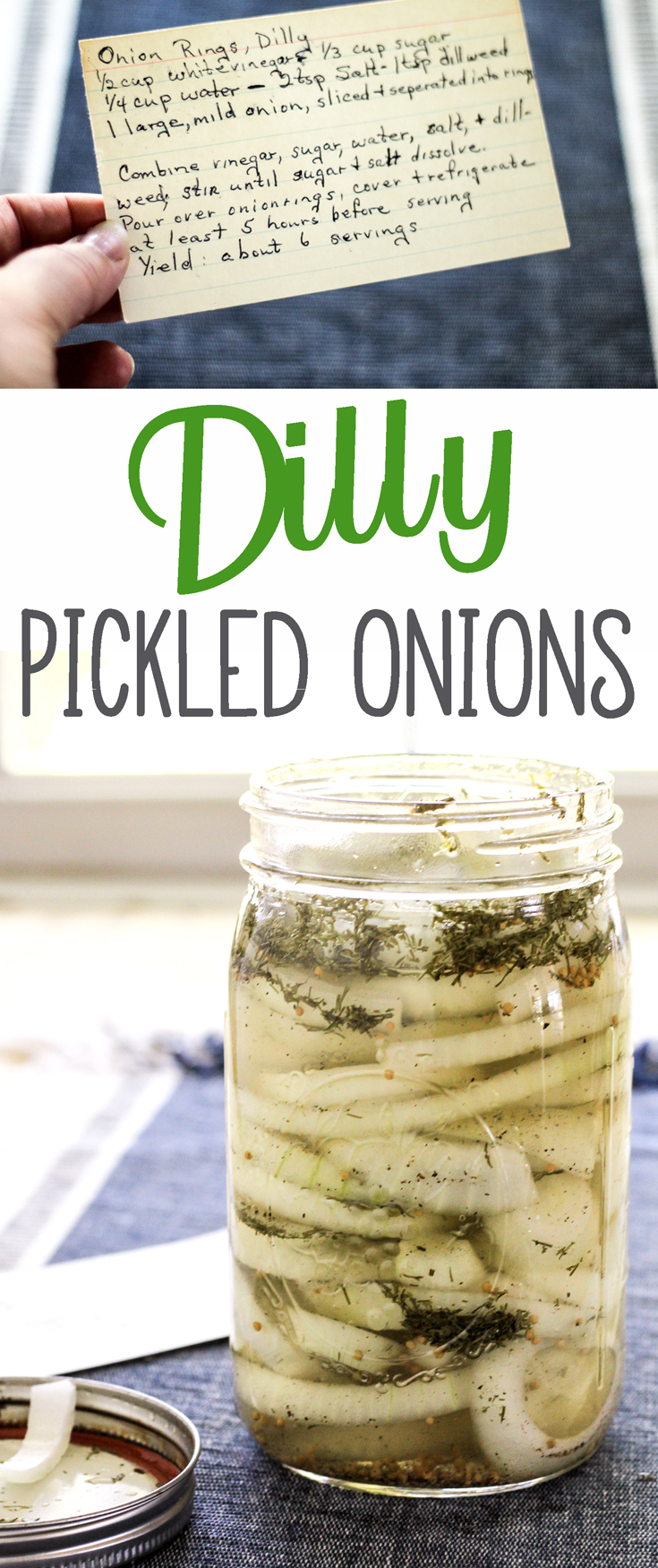 A Southern kitchen is not complete without pickles like our family recipe for Dilly Pickled Onion Rings. Dump all into a jar, shake, put it in the fridge. #pickledonion, #easypickle