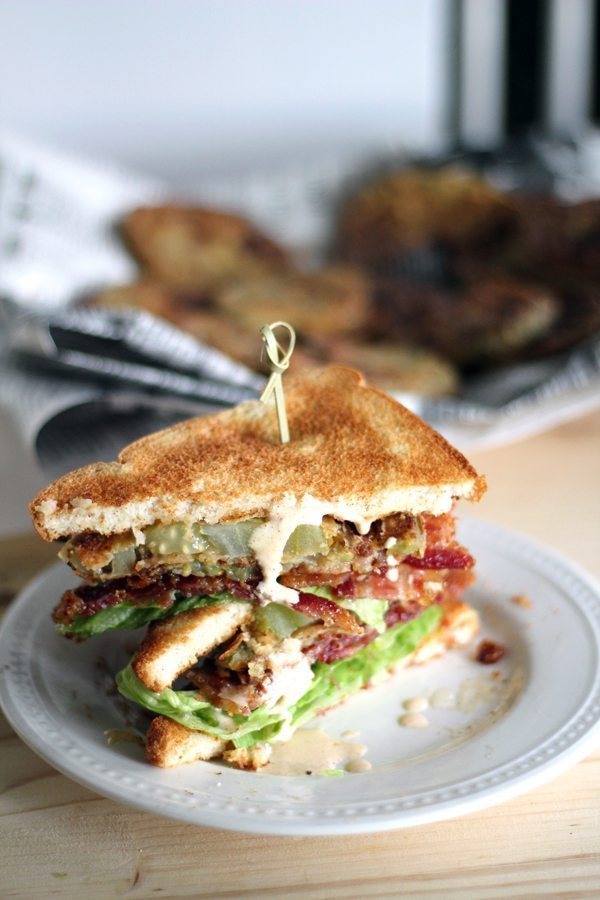 Fried Green Tomatoes make me happy. I am also the poster child for Bacon Addicts Anonymous. Thus, Fried Green Tomato BLT Sandwich was born.