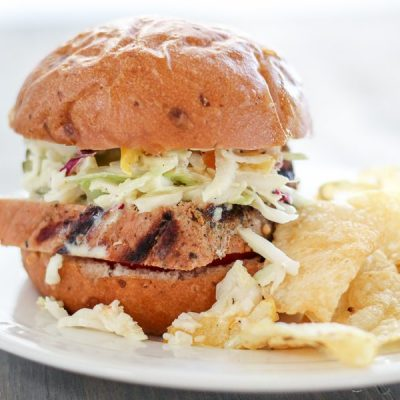 Grilled Pork Tenderloin Sandwiches with Tangy Slaw