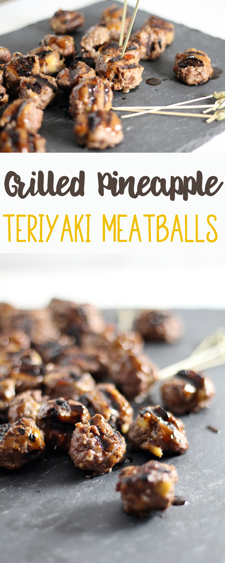 Grilled Pineapple Teriyaki Meatballs. This recipe is perfect for parties and cookouts.  Salty and tangy teriyaki POW with a little sweet pineapple mixed in.  #teriyakimeatballs #meatballrecipe