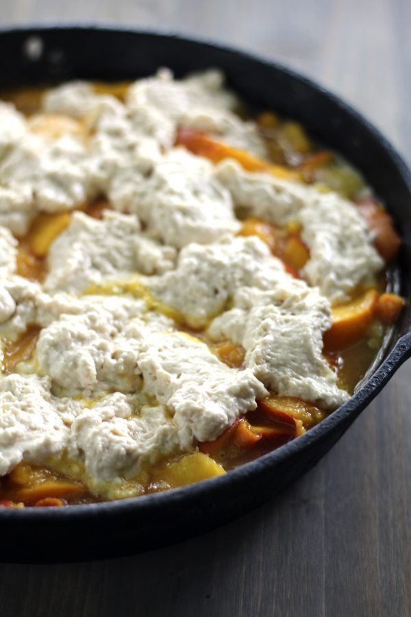 Just plop that biscuit dough right on top for this Biscuit Peach Cobbler dessert recipe.