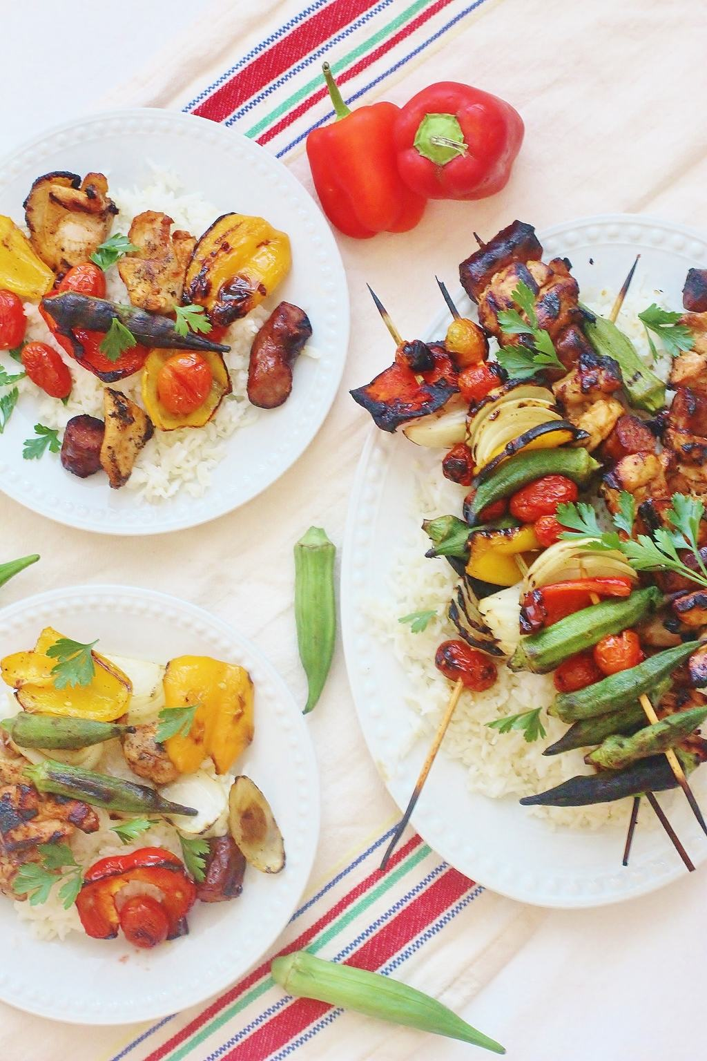 Weeknight Dinner Recipes Chicken and Sausage Gumbo Skewers by Syrup and Biscuits
