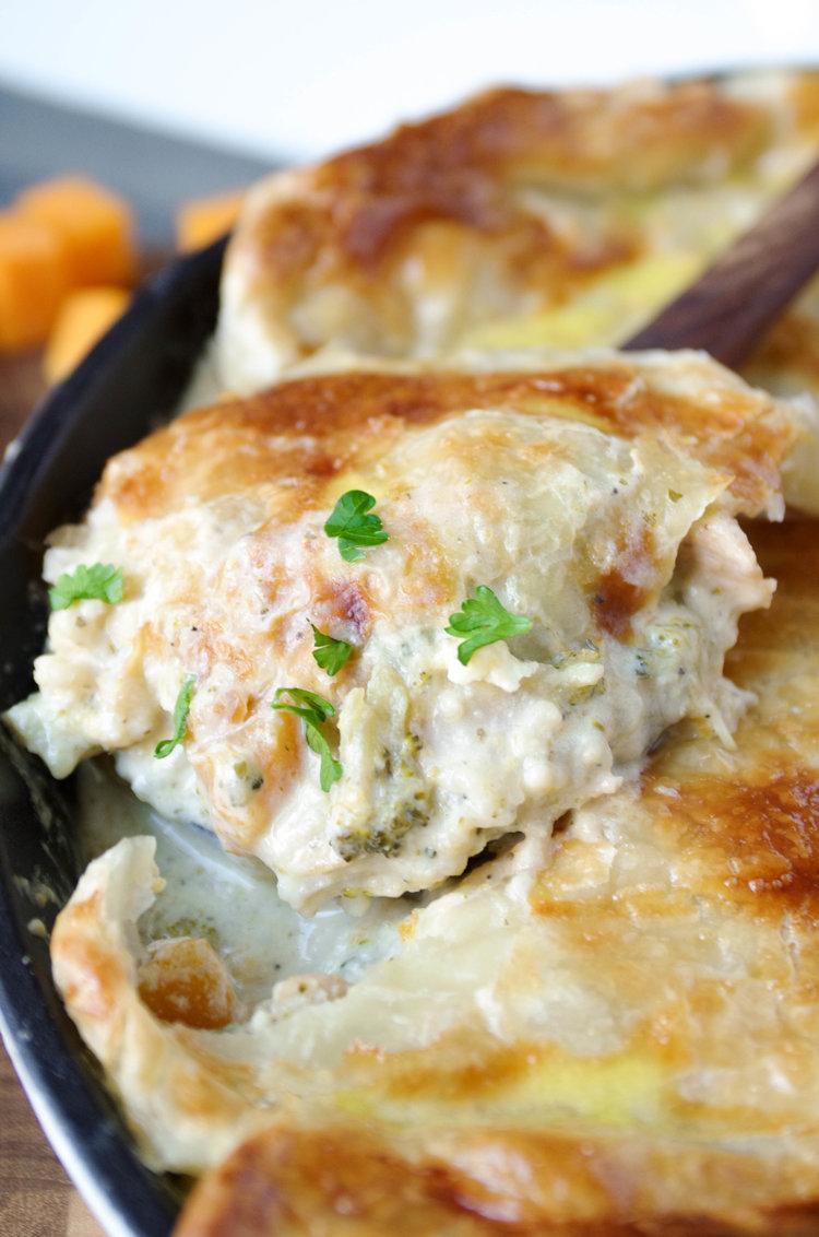 Weeknight Dinner Recipes Chicken Cauliflower and Butternut Squash Chicken Alfredo Skillet Pie by Coffee and Crayons