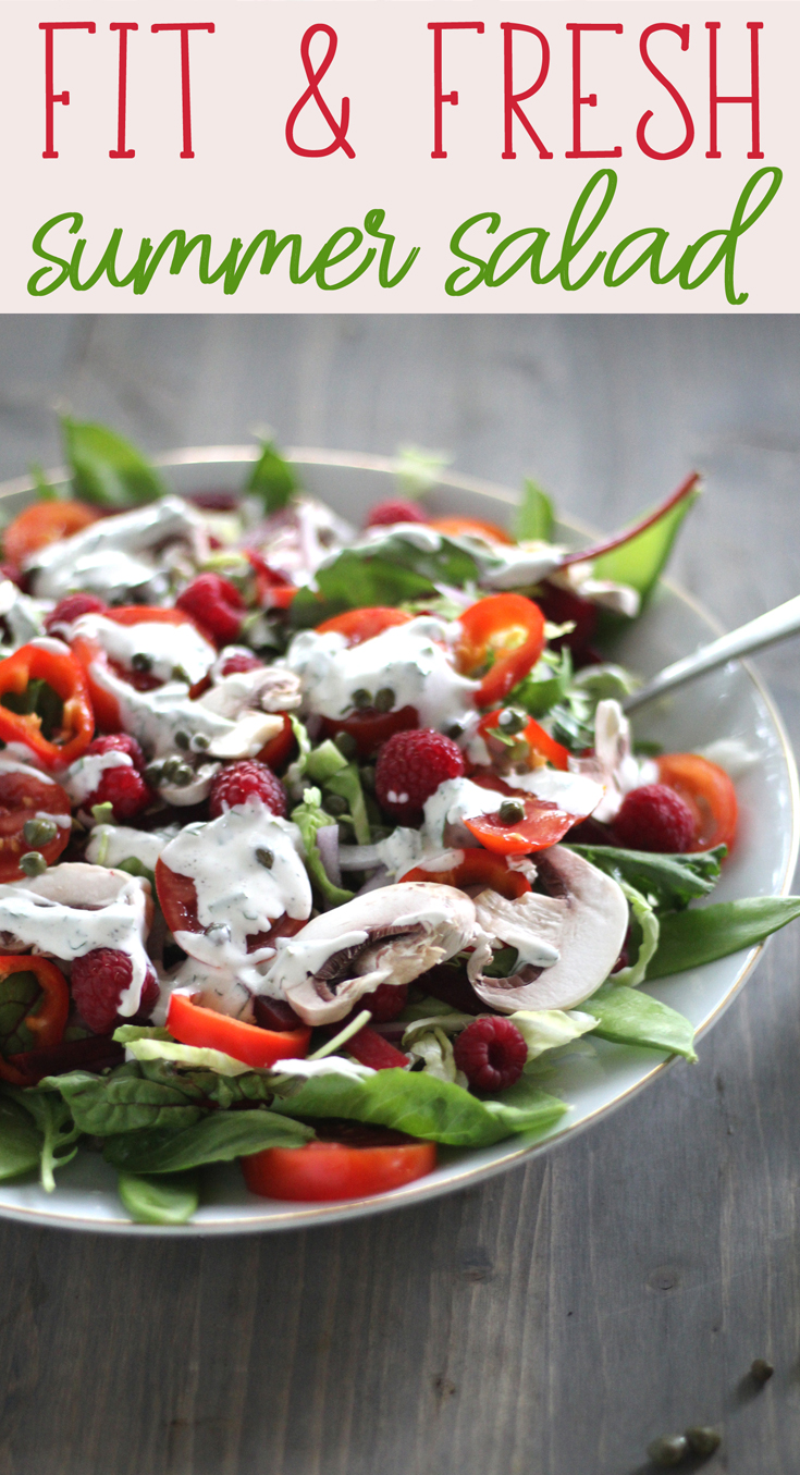 This gorgeous Fit Fresh Summer Salad is loaded with healthy and tasty ingredients. Fresh lettuce, healthy greens, tender mushrooms, and sweet raspberries.