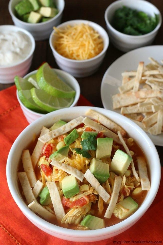 Weeknight Dinner Recipes Chicken Tortilla Soup from My Gluten Free Kitchen
