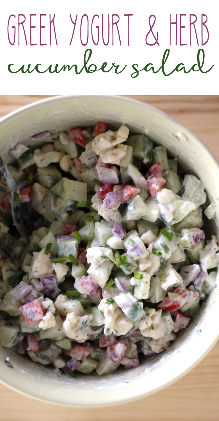 Creamy-crunchy bites of fresh cucumber and red onion with dill and chives. I'm voting this cucumber salad as THE healthy recipe of my summer.