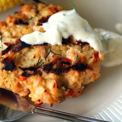 Grilled Fresh Salmon Patties with Lemon Dill Mayo