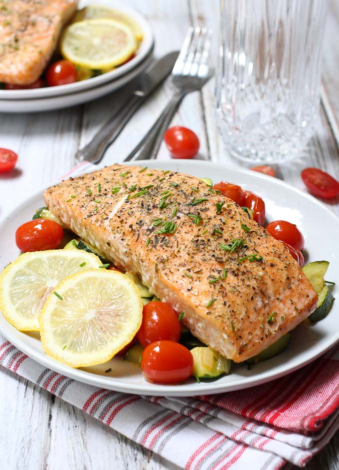 Weeknight Dinner Recipes Herbed Roasted Salmon with Veggies by Maria Ushakova