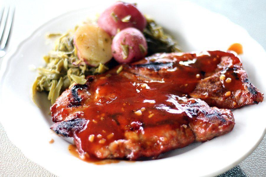 Honey Bourbon Pork Steaks