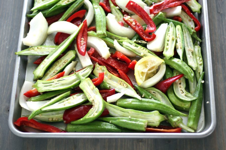 Fresh okra is at the top of my summer vegetable list. I love it breaded, fried,or stewed with tomatoes. I especially love Roasted Okra Peppers and Vidalia.