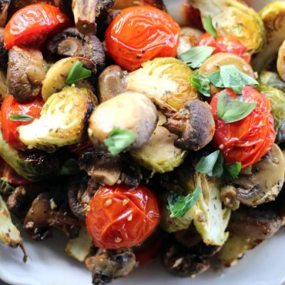 Sheet Pan Brussel Sprouts, Mushrooms & Tomatoes