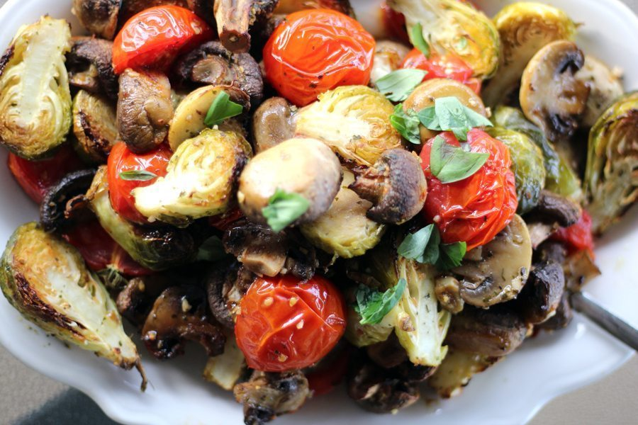 Sheet Pan Brussel Sprouts with Mushrooms and Tomatoes