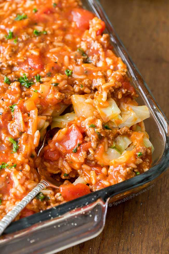 Weeknight Dinner Recipes Unstuffed Cabbage Casserole by Spend with Pennies