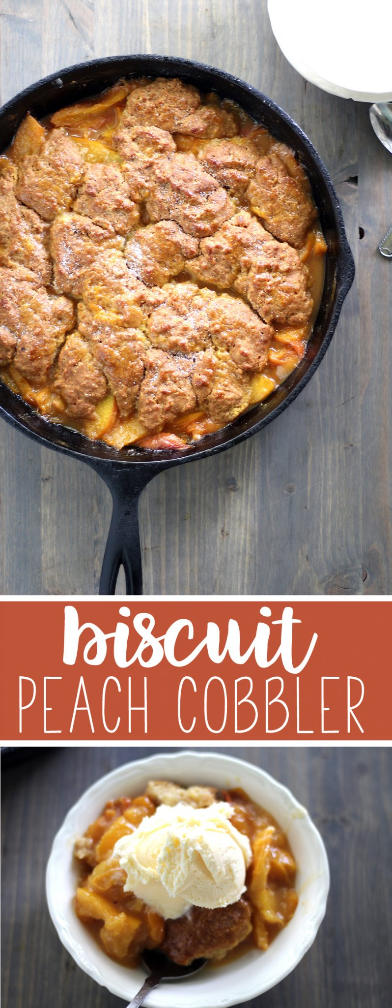 The taste of bright and sweet fresh peaches with a slightly salty-savory biscuit topping is a step away from heaven. Buttery and crumbly, a biscuit is happiest sitting on top of peaches. #peachcobblerrecipe