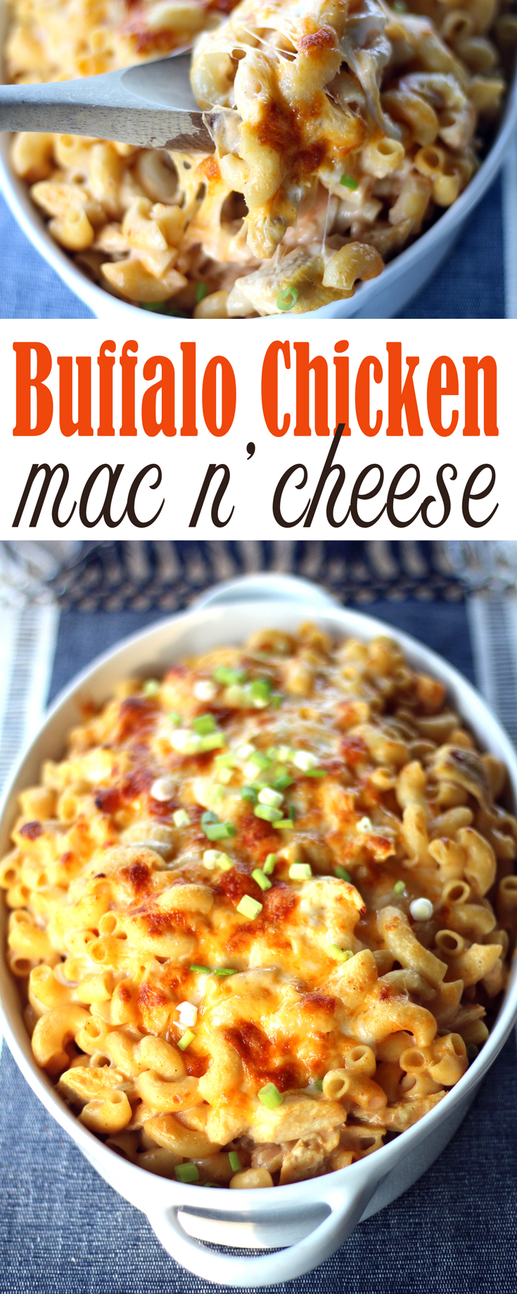 A classic dreamy-creamy mac and cheese recipe made yummier by adding grilled chopped chicken and loads of buffalo hot sauce. Buffalo Chicken Mac and Cheese.