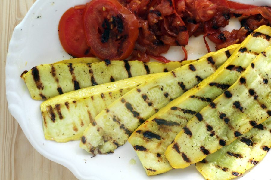 Grilled squash and tomatoes