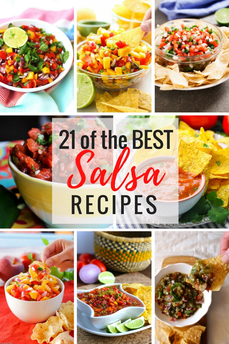 We have 21 of the Best Salsa Recipes for you to enjoy. From traditional restaurant style salsa recipes made with classic ingredients such as tomatoes, onions, peppers and cilantro to fresh fruit salsas made with pineapple, strawberries or mango.